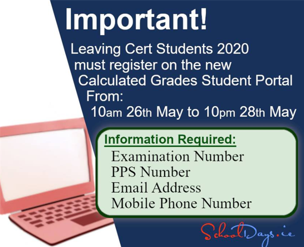 Calculated Grades Online Portal - now open